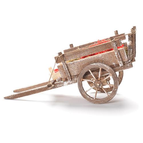 Cart with tomatoes, Neapolitan Nativity 12x20x8cm 2