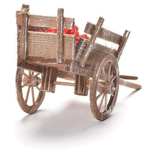 Cart with tomatoes, Neapolitan Nativity 12x20x8cm 3