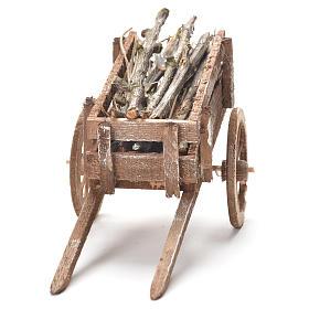 Carretto di legno presepe Napoli 12x20x8 cm s4