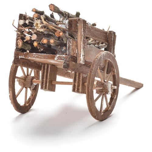 Carretto di legno presepe Napoli 12x20x8 cm 3