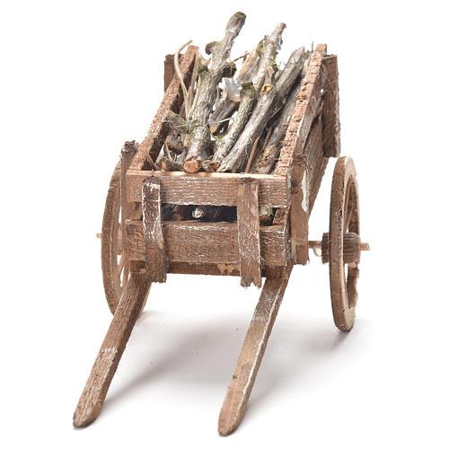 Carretto di legno presepe Napoli 12x20x8 cm 4