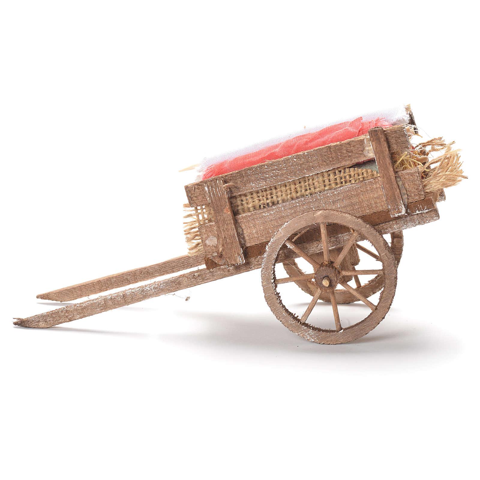 Cart with fabrics, Neapolitan Nativity 12x20x8cm 4