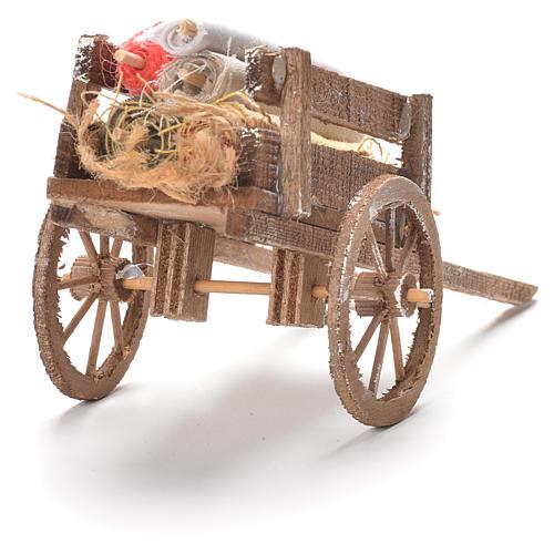 Cart with fabrics, Neapolitan Nativity 12x20x8cm 3