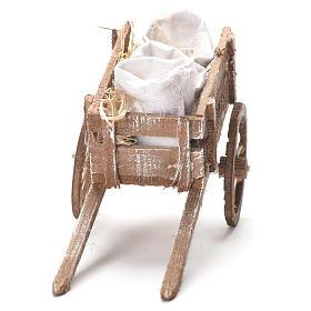 Carretto con sacchi di farina presepe Napoli 12x20x8 cm s4