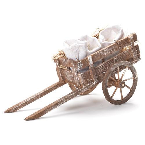 Carretto con sacchi di farina presepe Napoli 12x20x8 cm 1