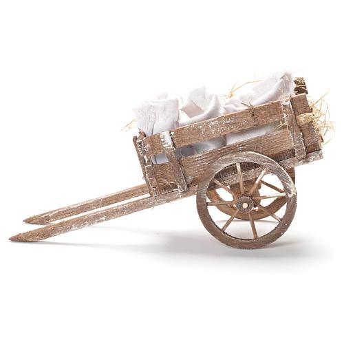 Carretto con sacchi di farina presepe Napoli 12x20x8 cm 2