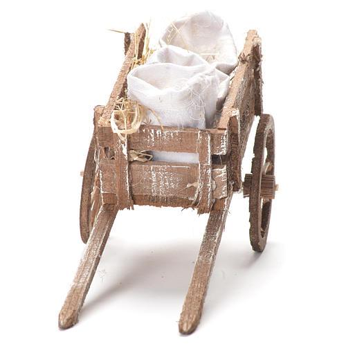 Carretto con sacchi di farina presepe Napoli 12x20x8 cm 4