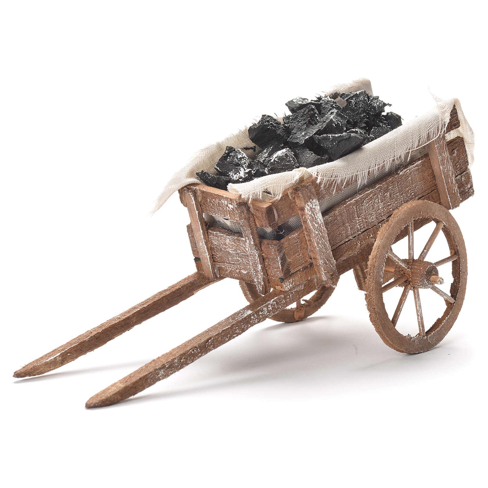 Carreta de carvão presépio napolitano 12x20x8 cm 4
