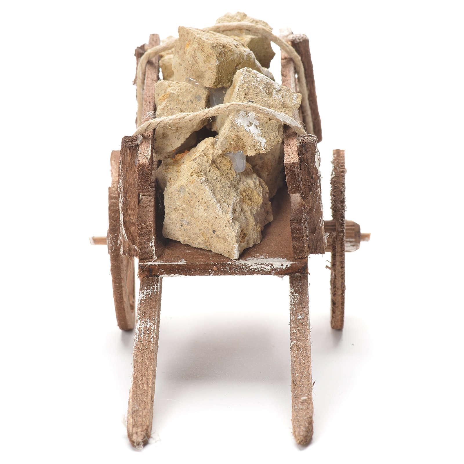 Wózek z kamieniami szopka neapolitańska 12x20x8 cm 4