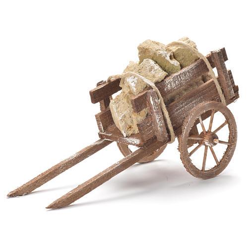 Wózek z kamieniami szopka neapolitańska 12x20x8 cm 1