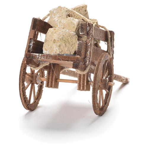 Wózek z kamieniami szopka neapolitańska 12x20x8 cm 3