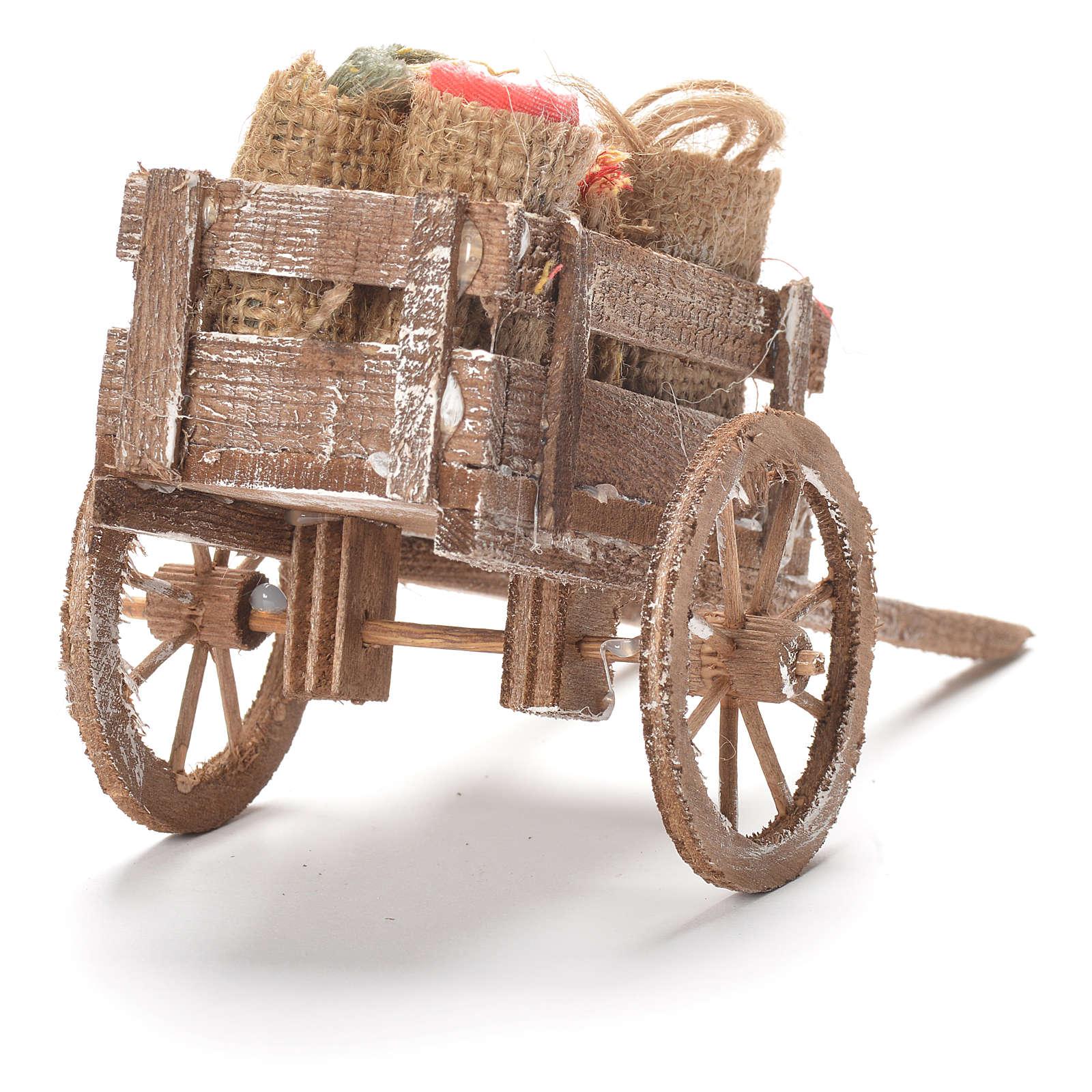 Carretto con sacchi e stoffe presepe Napoli 12x20x8 cm 4