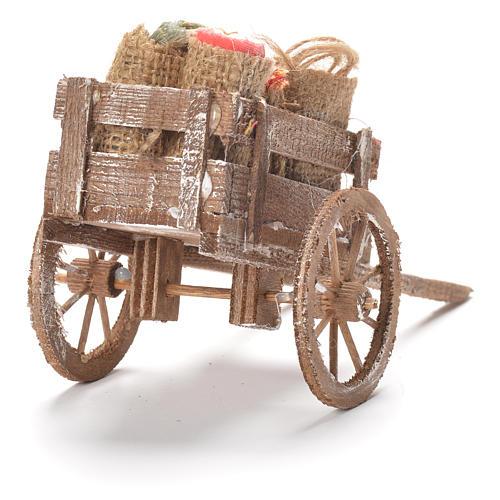 Carretto con sacchi e stoffe presepe Napoli 12x20x8 cm 3
