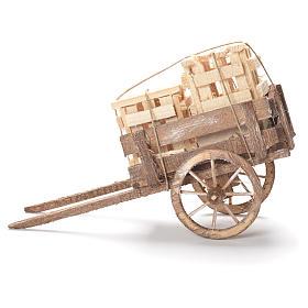 Wózek ze skrzynkami szopka neapolitańska 12x20x8 cm s2