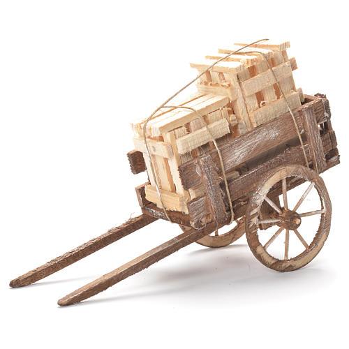Wózek ze skrzynkami szopka neapolitańska 12x20x8 cm 1