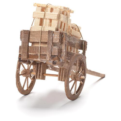 Wózek ze skrzynkami szopka neapolitańska 12x20x8 cm 3