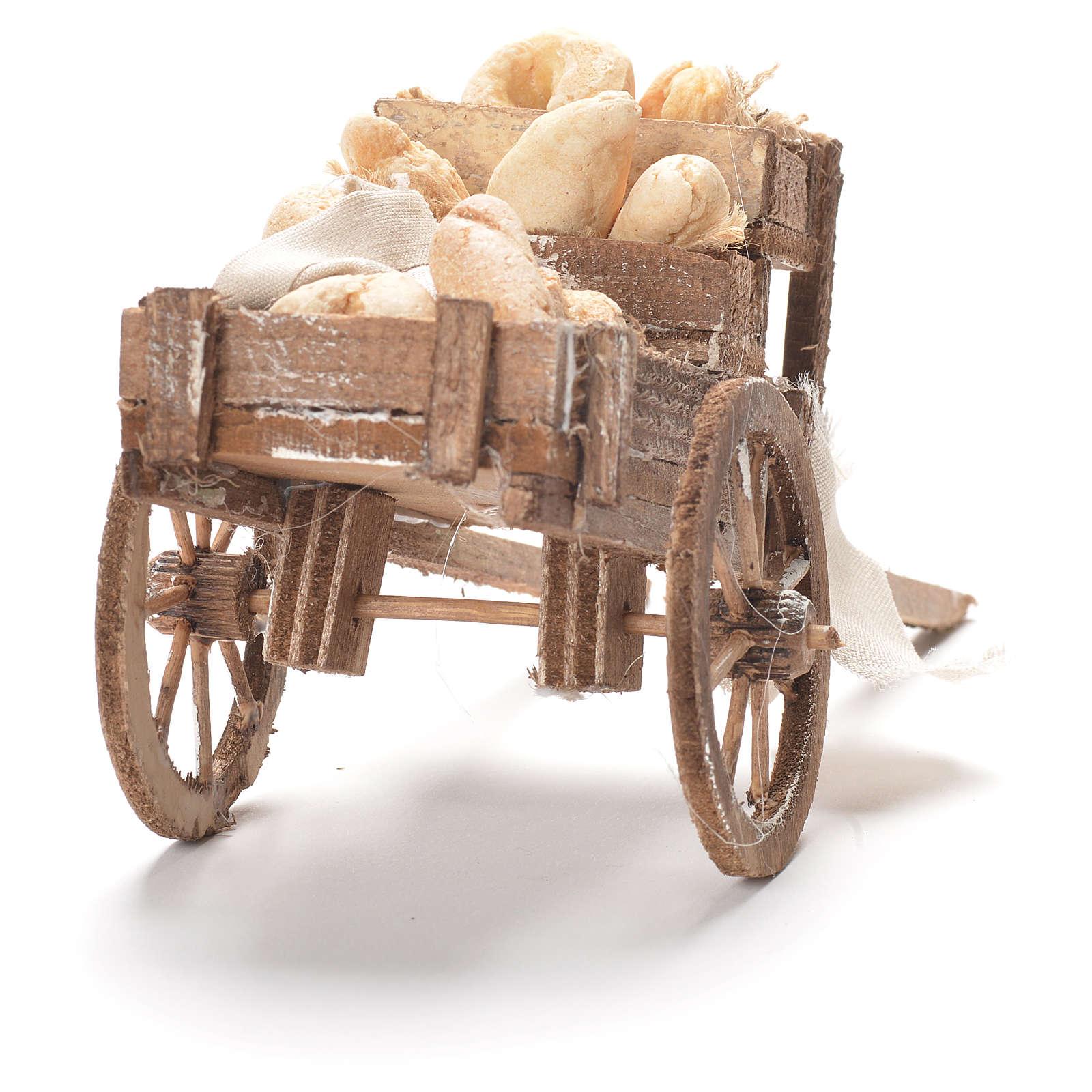 Carretto con pane presepe napoletano 12x20x8 cm 4