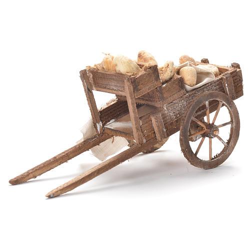 Carretto con pane presepe napoletano 12x20x8 cm 1