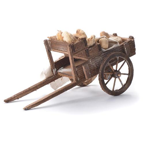 Carretto con pane presepe napoletano 12x20x8 cm 5