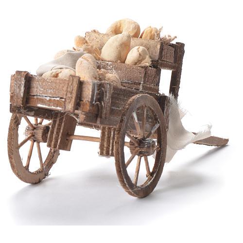 Carretto con pane presepe napoletano 12x20x8 cm 7