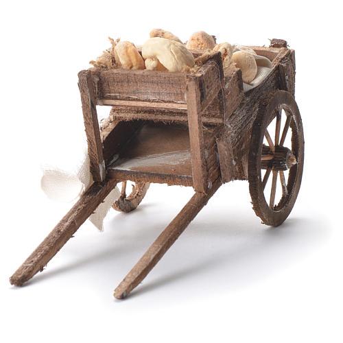 Carretto con pane presepe napoletano 12x20x8 cm 8