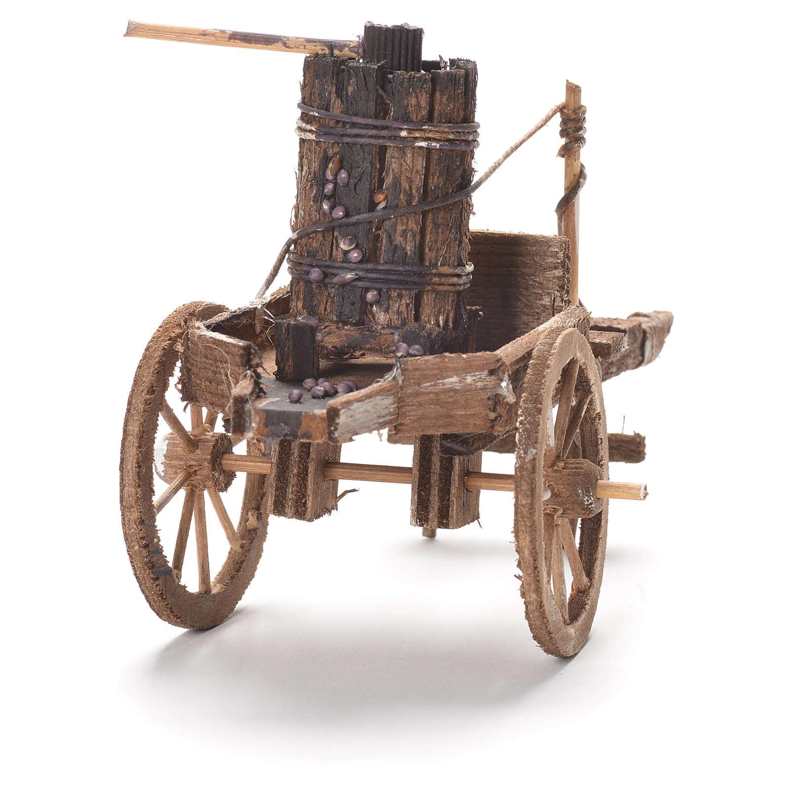 Carretto con torchio presepe napoletano 12x20x8 cm 4