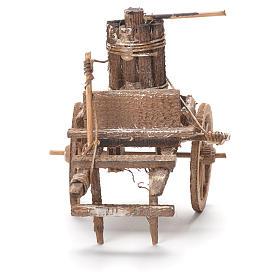 Carretto con torchio presepe napoletano 12x20x8 cm s4
