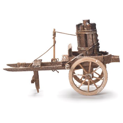 Carretto con torchio presepe napoletano 12x20x8 cm 2