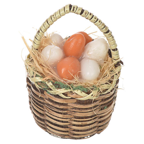 Accessory for nativities of 20-24cm, basket with eggs in wax 1