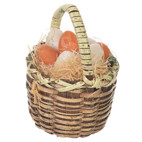 Accessory for nativities of 20-24cm, basket with eggs in wax 2