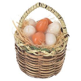Comida em Miniatura para Presépio: Cesta ovos em cera para peças presépio 20-24 cm