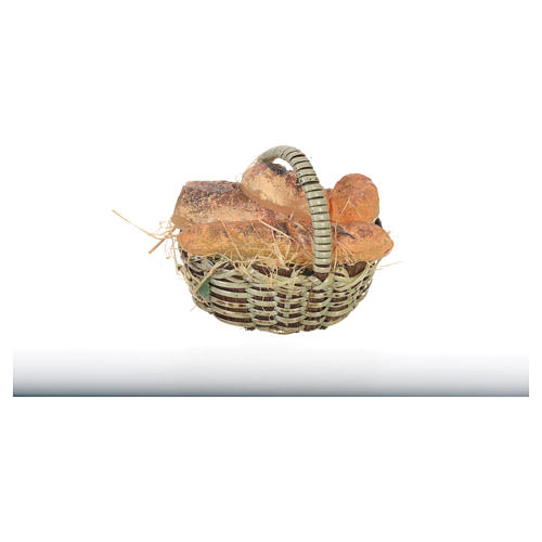 Accessory for nativities of 20-24cm, basket with bread in wax 3