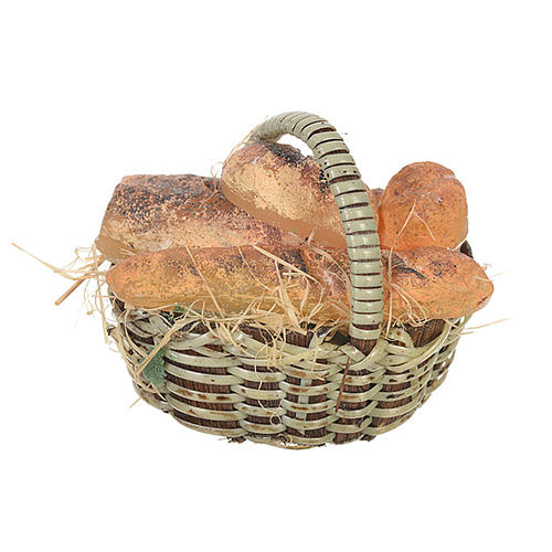 Accessory for nativities of 20-24cm, basket with bread in wax 1