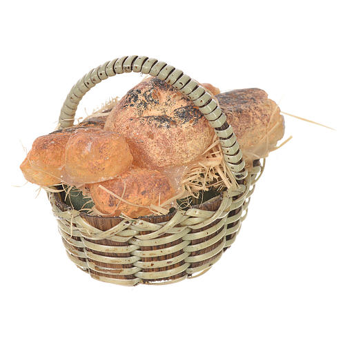 Accessory for nativities of 20-24cm, basket with bread in wax 2