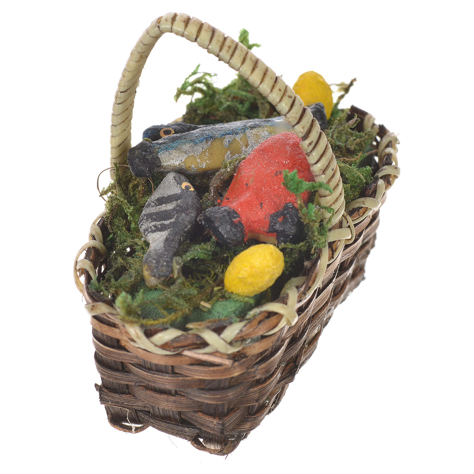 Accessory for nativities of 20-24cm, basket with fish in wax 4