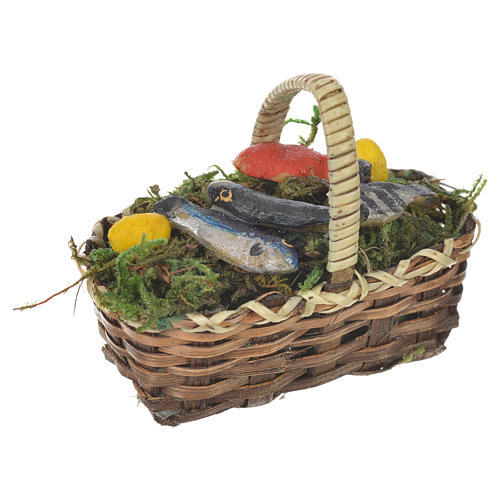 Accessory for nativities of 20-24cm, basket with fish in wax 1