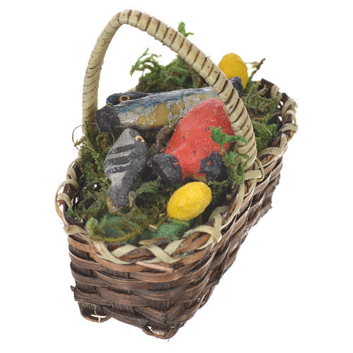 Accessory for nativities of 20-24cm, basket with fish in wax 2