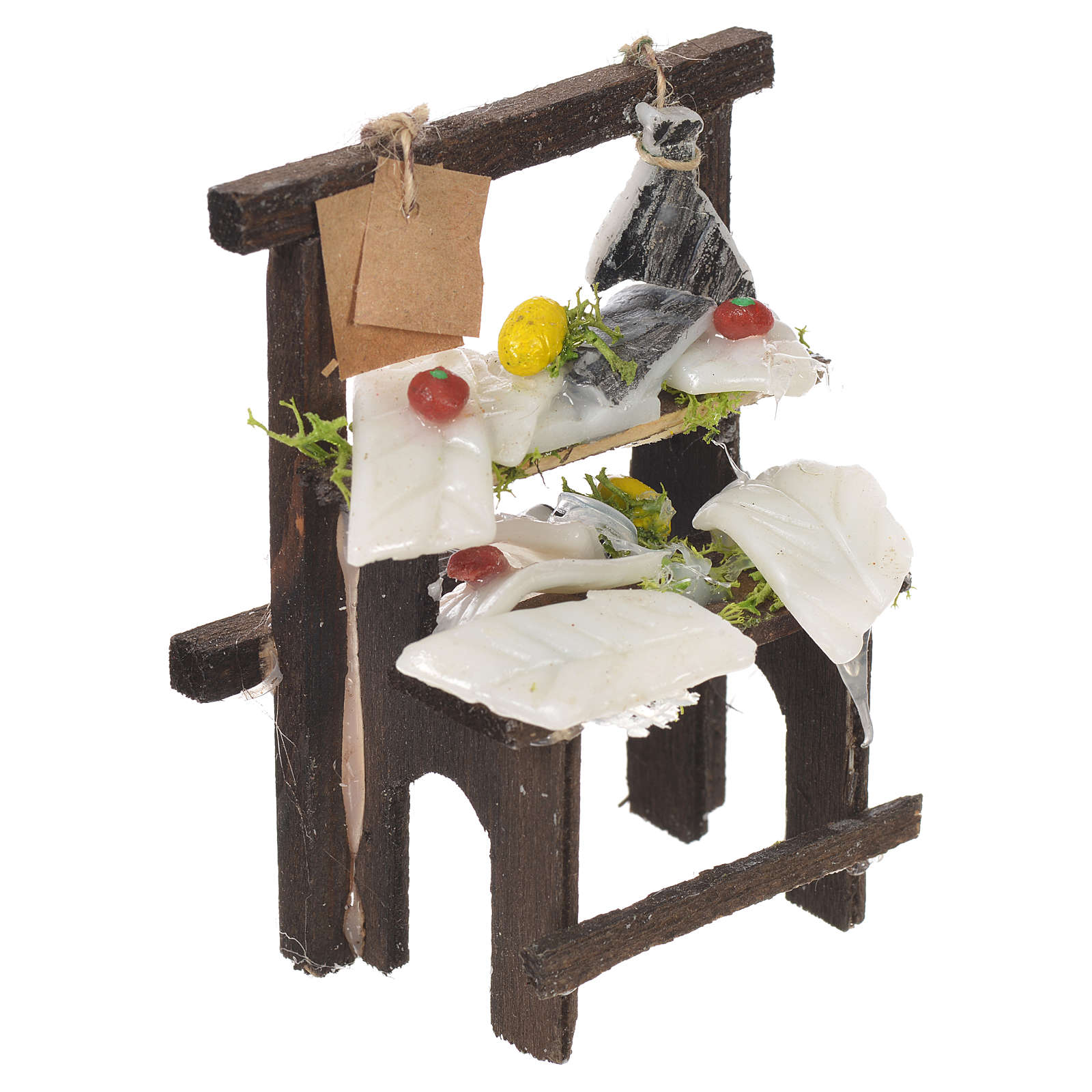 Nativity stall, salted codfish seller in wax 8.5x6x4cm 4