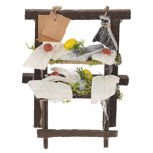 Nativity stall, salted codfish seller in wax 8.5x6x4cm 1