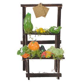 Comida em Miniatura para Presépio: Banca vendedor legumes presépio cera 13,5x8x5,5 cm