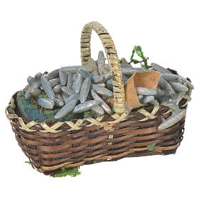 Miniature food: Accessory for nativities of 20-24cm, basket with sardines in wax