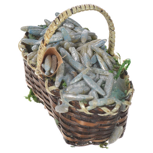 Accessory for nativities of 20-24cm, basket with sardines in wax 2