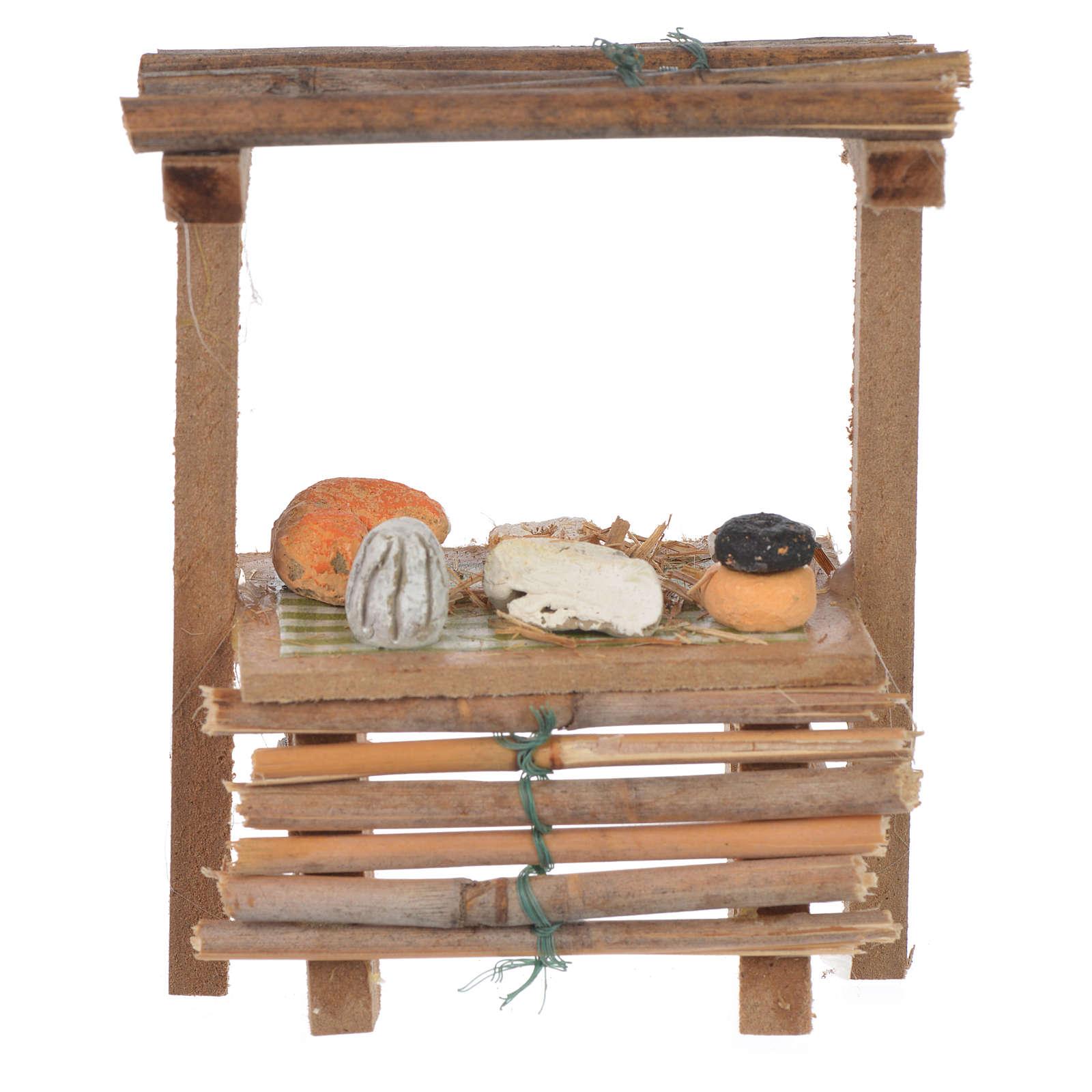 Banco legno formaggi cera presepe 9x10x4,5 cm 4