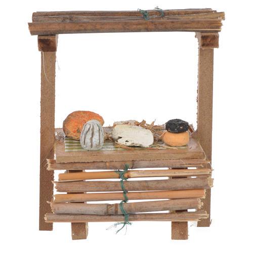 Banco legno formaggi cera presepe 9x10x4,5 cm 1
