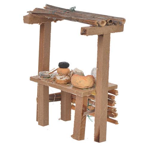 Banco legno formaggi cera presepe 9x10x4,5 cm 2