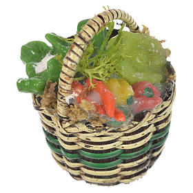 Miniature food: Accessory for nativities of 20-24cm, basket with vegetables in wax