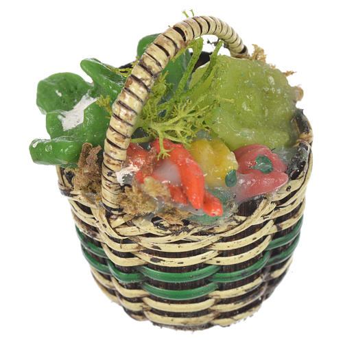 Accessory for nativities of 20-24cm, basket with vegetables in wax 1