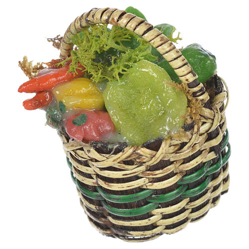 Accessory for nativities of 20-24cm, basket with vegetables in wax 2