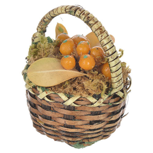 Cestino con frutta arancione presepe per figure 20-24 cm 2