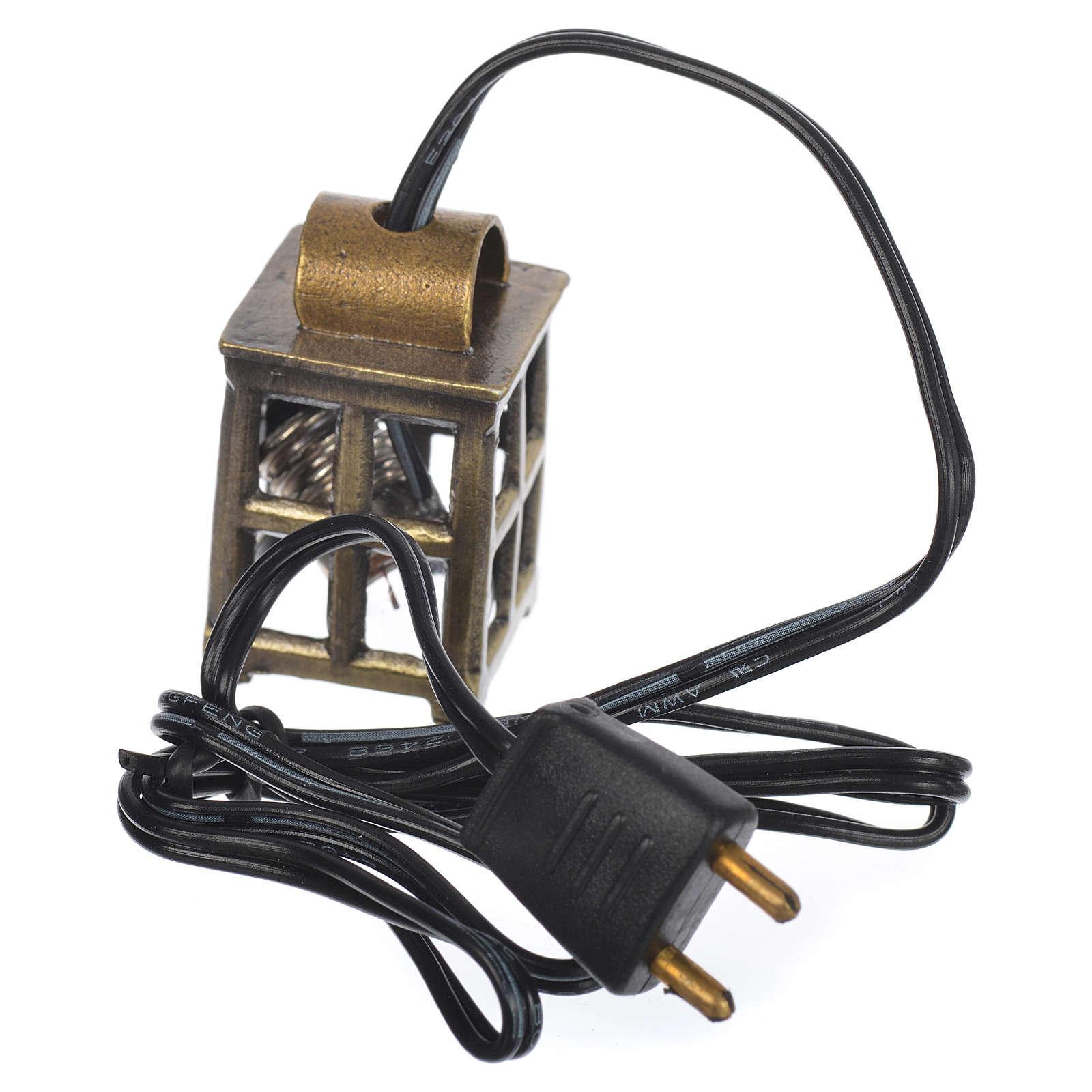Lampione metallo presepe cm 2,1x2,1x3,4 con luce 3,5v 4